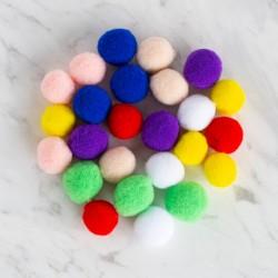 24'lü Karışık Renk Peluş Ponpon
